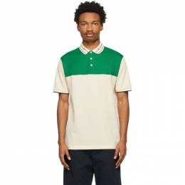 Gucci Off-White and Green Embroidered GG Polo 645259 XJC6J