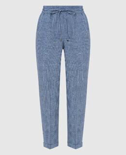 Синие брюки из льна Kiton 2300006721168