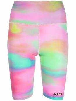 MSGM Active logo tie-dye performance shorts 3045MDB03217253