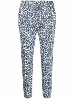 Peserico geometric-print cropped trousers P0470708133