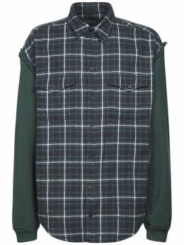 Logo Patch Check Flannel Shirt Balenciaga 73IROV034-MzA2NA2
