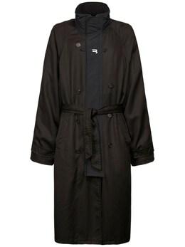 B Print Tech Gabardine Sport Trench Coat Balenciaga 73IROV002-MTAwMA2