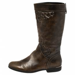 Loriblu Brown Leather Knee Length Boots Size 37 396383