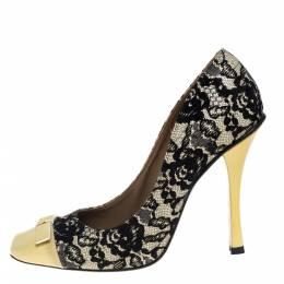 Marc Jacobs Yellow/Black Lace And Patent Leather Bow Detail Pumps Size 39 396564