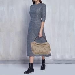 Furla Beige Canvas and Brown Leather Floral Cut Out Shoulder Bag 396033
