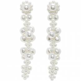 Simone Rocha White Cluster Drip Earrings ERG245 0904
