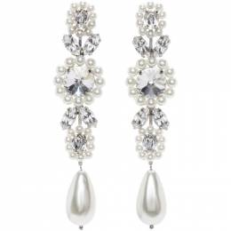 Simone Rocha White Jewelled Drop Cameo Earrings ERG240 0906
