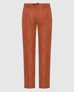 Терракотовые брюки из кашемира и шелка Stefano Ricci 2300006666735