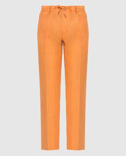 Оранжевые брюки из льна Stefano Ricci 2300006664946
