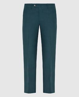 Бирюзовые брюки из льна Stefano Ricci 2300006666810