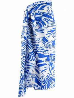 MSGM abstract-print draped skirt 3042MDD117217351