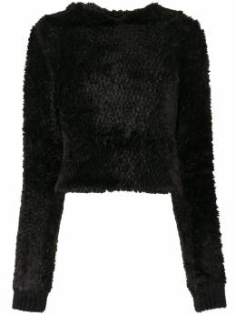 Rta fluffy-texture hoodie WH0FR7168BLK
