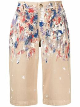 Philosophy Di Lorenzo Serafini paint splatter print denim shorts A03192133