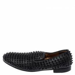 Christian Louboutin Black Leather Rollerboy Spiked Loafers Size 43.5 396537