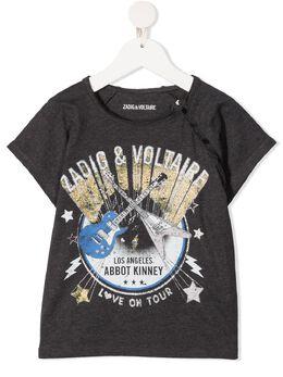 Zadig & Voltaire Kids футболка Deva с графичным принтом SJTC1807E