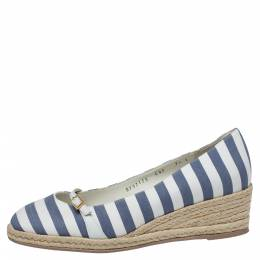 Salvatore Ferragamo Two Tone Striped Canvas And Leather Audrey Wedge Espadrille Pumps Size 38 397635