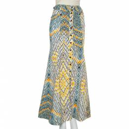 Just Cavalli Multicolor Denim Flared Maxi Skirt S 396668