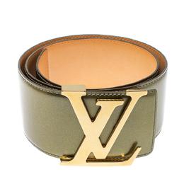 Louis Vuitton Green Vernis Leather LV Initiales Wide Belt 75 CM 397567