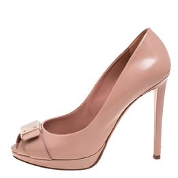 Dior Beige Patent Leather Peep Toe Platform Pumps Size 40 396797