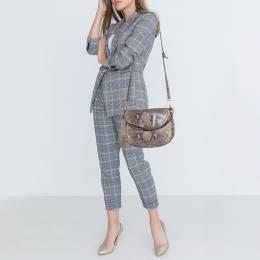 MICHAEL Michael Kors Grey Python Embossed Leather Crossbody Bag 397223