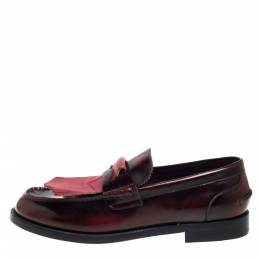 Burberry Burgundy Leather Slip On Bedmoore Loafers Size 45 397574