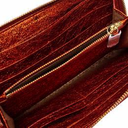 Anya Hindmarch Metallic Orange Textured Embossed Leather Zip Around Wallet 397749