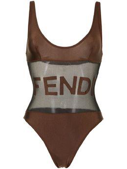 Fendi Pre-Owned купальник с вышитым логотипом DHG1234