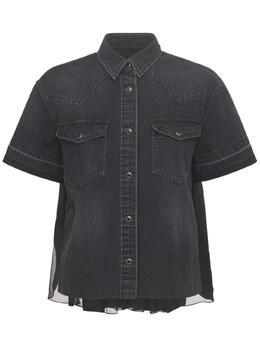 Рубашка Из Хлопкового Денима С Плиссе Сзади Sacai 73IXYE005-MDAx0