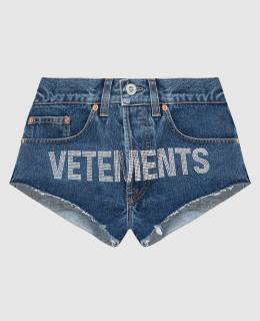 Синие шорты с кристаллами Vetements 2300006662188