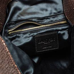 Lanvin Metallic Brown Lame Fabric Turnlock Fold Over Clutch 397927