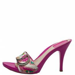 Dior Multicolor Canvas Logo Detail Sandals Size 41 397653