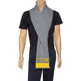 Louis Vuitton Grey & Yellow Logo Wool Louis Scarf 396150