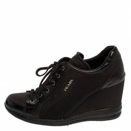 Prada Sport Black Nylon And Leather Wedge Lace Up Sneakers Size 40 398778