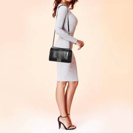 Chanel Black/Silver Python and Leather Medium Boy Flap Bag 398528
