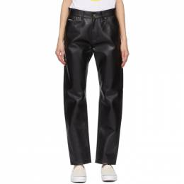 Noon Goons Black Faux-Leather Series Trousers NGSP21022