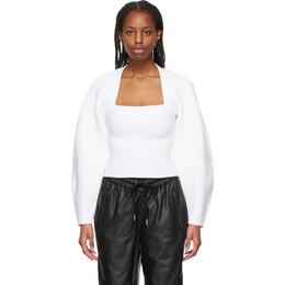 Alexander Wang White Ribbed Shrug Pullover Sweater 1KC2211005