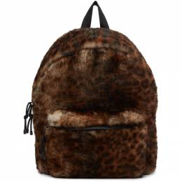 Vetements Brown and Black Shearling Leopard Backpack UE51BA950L