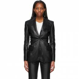Alexander Wang Black Leather Single-Breasted Blazer 1WC2212271