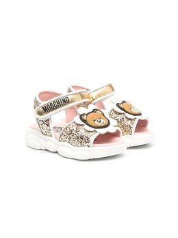 Moschino Kids сандалии с нашивкой Teddy Bear и блестками 67357V2K