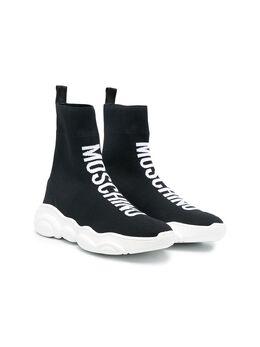Moschino Kids кроссовки-носки с логотипом 67518