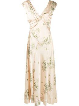 Simone Rocha длинное платье с драпировкой 70660417NUDEGREEN