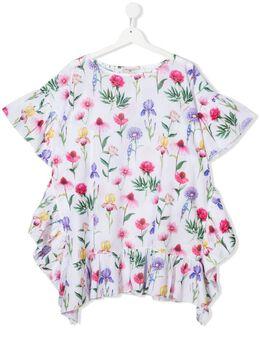 Monnalisa платье с оборками и цветочным принтом 9979007083