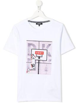 DKNY Kids футболка из органического хлопка с графичным принтом D25D32N56