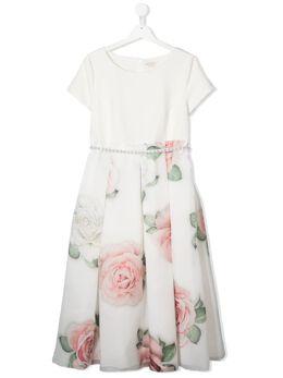 Monnalisa платье с цветочным принтом и искусственным жемчугом 7179187653