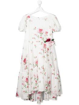 Monnalisa ярусное платье с цветочным принтом 717915F67620