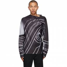 Y / Project Black Draped Moto Print Long Sleeve T-Shirt TS54-S20