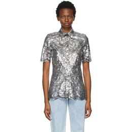 Paco Rabanne Silver Coated Lace Short Sleeve Shirt 21EJCE057PA0173
