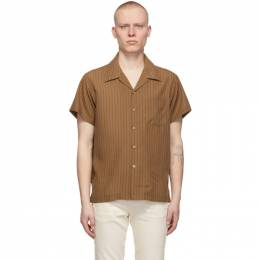Naked And Famous Denim Brown Striped Easy Care Twill Short Sleeve Shirt 120254531