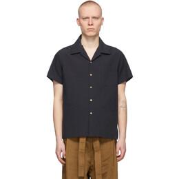Naked And Famous Denim Black Washed Chambray Short Sleeve Shirt 120120731