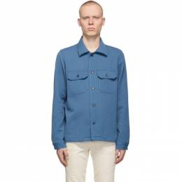 Naked And Famous Denim Blue Loose Weave Dobby Shirt 120165910